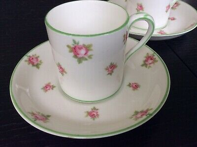Crown Staffordshire Bone China. Three Coffee Cups and Saucers with Pink Roses