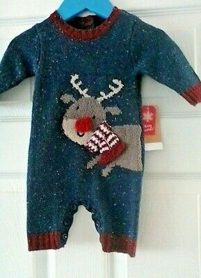Baby Boys knitted Christmas All in One Romper Newborn BNWT