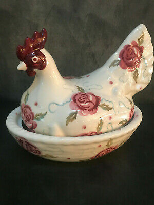 Emma Bridgewater Rose & Bee Large Hen on Nest, out of production.