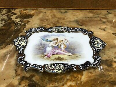 Antique 19.TH Century French Enamel Sevres Porcelain Tray Signed