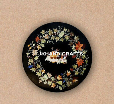 """Black Marble 48"""" Round Dining Table Top Antique Marquetry Inlay Christmas Gift"""