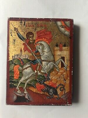 Antique 18-19th C Russian Icon Hand Painted Wood Panel