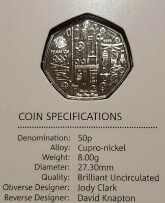 New 2020 Team GB Olympic games 50p. Brilliant uncirculated. Mint sealed perfect