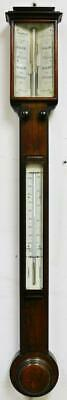 Antique English Solid Oak Stick Wall Barometer & Thermometer, G. Fleet Newcastle