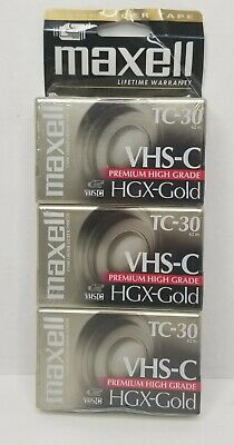 Brand New Lot Of 3 Factory Sealed Maxell Premium VHS-C Camcorder Tapes HGX-Gold