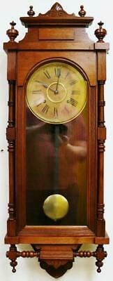 Antique Ansonia Carved Wall Clock 8 Day Striking Mahogany Regulator Wall Clock