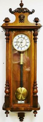 Antique German 8 Day Single Weight Walnut Carved Vienna Regulator Wall Clock