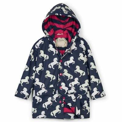 Hatley Raincoat Colour Changing Playful Horses with Fuchsia Pink Lining