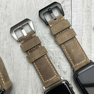 For Apple Watch 5 4 3 2 42mm 44mm Genuine Bull Leather Brown iwatch Strap Band