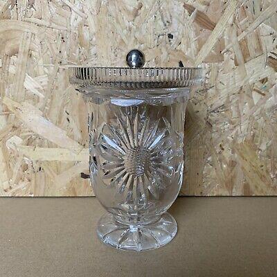 Vintage Cut Crystal Tall Footed Jam Compote Pot Vase Silver Plated Lid Sunflower