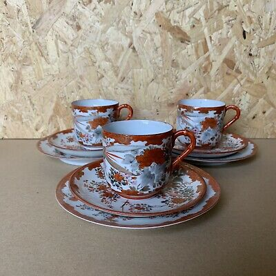 Vintage Hand Painted Japanese Chinese Eggshell Tea Set Trios - Cups Saucer Plate