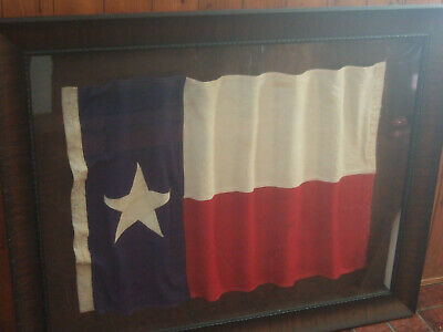 Rare Antique Texas State Flag  Beautifully Mounted And Framed