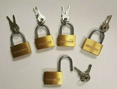 "Small 1"" Inch keyed padlock Brass lot of 5  Free Shipping"