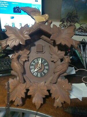 Vintage Carved Black Forest Cuckoo Clock Wood Nonworking For Parts