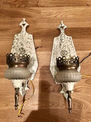 Vintage Pair of Leviton Metal Cast  Wall Sconces Shabby Chic Painted And Rewired