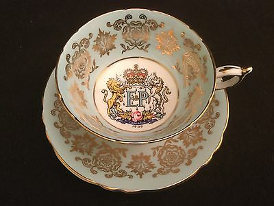 PARAGON ENGLAND BLUE GOLD CUP AND SAUCER OPENING ST LAWRENCE SEAWAY Canada 1959