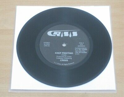 """CRISIS: Keep fighting / Kick it out 7"""" US Private Metal '85 Armed to the teeth"""