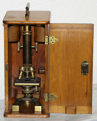1896 Antique Bausch & Lomb Brass Optical Microscope # 21038
