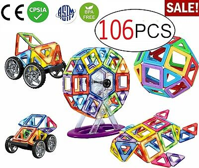 106 PCS Magna-Tiles 3D Set Magnetic STEM Building Toy School Magnet Shape