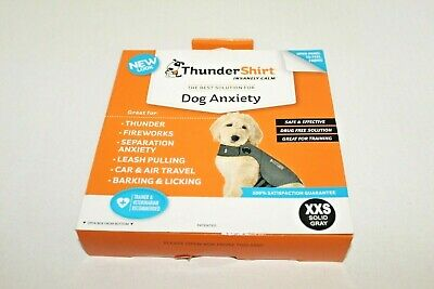 ThunderShirt Dog Anxiety Solution Size XXS Under 7 lb Solid Grey Calming Shirt