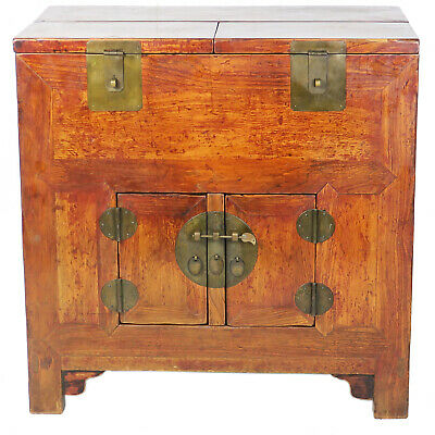 """Antique Chinese 2 Doors Cabinet w Upper Storage sections 35"""" W x 21"""" D x 35"""" T"""