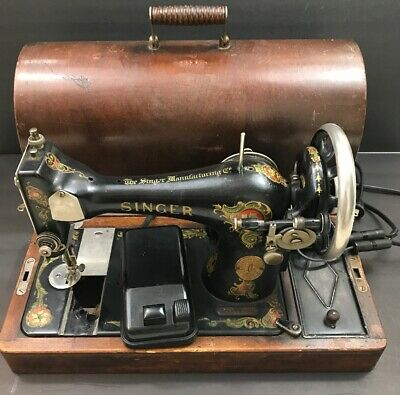 Antique 1919 Singer Sewing Machine Model 128 With Case Works Great Ser# G7632241