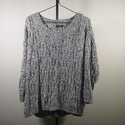 Womens Grey Cable Knit Jumper M Winter Casual Oversized Long Sleeve Sweater