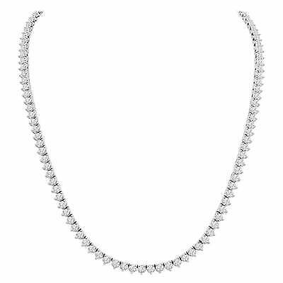 3 Prong 3mm 1 Row Real 925 Sterling Silver Tennis Chain Necklace ANTI TARNISH