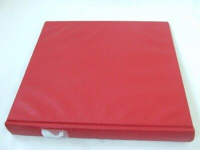 Lindner Red Leather Effect 18 Ring Stamp Album, Excellent Condition