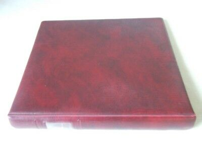 Lindner Maroon Padded Leather Effect 18 Ring Stamp Album, Excellent Condition