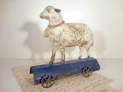 AAFA Early Blue & White Painted Tin Lamb Pull Toy Antique Fallows Platform Sheep