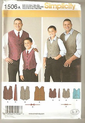 Simplicity Pattern 1506 Boy's & Big & Tall Men's Lined Vest & Tie Sz S-L/1XL-5XL