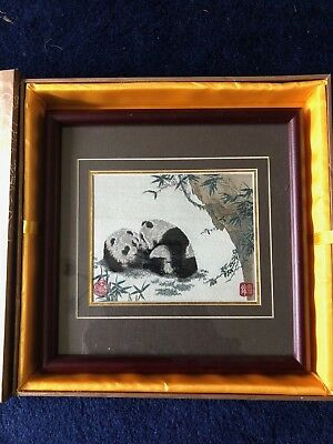 Framed China Shu Brocade Panda Embroidery self standing or hanging