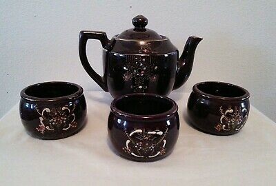 Vintage Brown Glaze Clay Pottery Hand Painted from Japan Teapot w/ 3 Cups