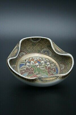 明治時代 19Th Meiji Japanese 薩摩焼 Satsuma Bowl Ceramic Porcelain Handpainted Signed