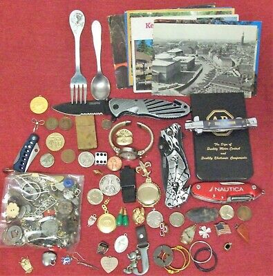 VINTAGE JUNK DRAWER LOT Postcards WATCH Coins EARRINGS Freemason KNIVES + MORE