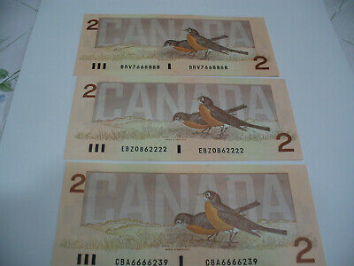 Lot Of 3  1986   Canada Two 2 $  Dollar Bill  1986  See Photos    888,222,239