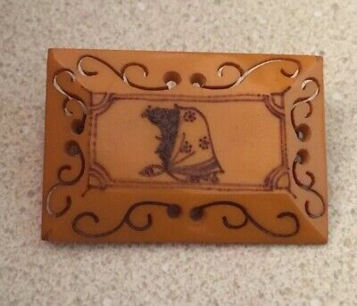 Butterscotch Bakelite Carved Pin With Profile Of Woman Wearing A Scarf Rare Find