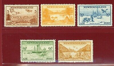 Canada, Newfoundland 1933, #C13-17, Airmail Issues, Mint LH, OG, SCV $185.00