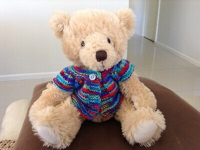 hand knitted teddy bear clothes to fit a 30cm teddy. Jacket