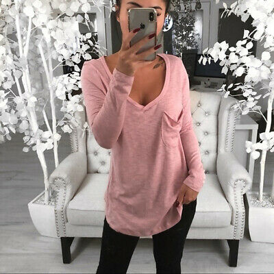 Ladies Summer Shirt Long Sleeve Women's Solid Fashion Loose Blouse Tops T-shirt