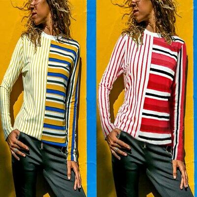Ladies Long Sleeve Tops Fashion Shirt Casual Stripe T-shirt Summer Women's