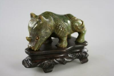 Vintage Chinese Hand Carved Green Jade Rino On Wooden Stand