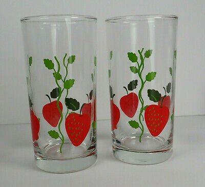 "Lot of 2 Vintage Strawberry with vines 5"" tall small drinking Glasses cups"