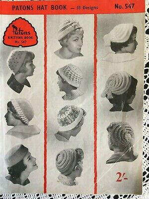 Vintage Knitting book - Patons Hat Book #547
