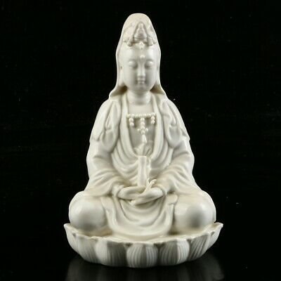 Chinese Exquisite Dehua Porcelain Handwork Carved Kwan-yin Statue MC61