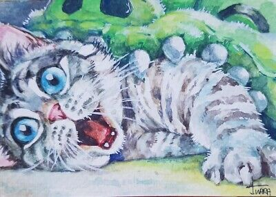 ORIGINAL ACEO Watercolor Painting Art Very Cute Cat Kitten Pet Worm Gift Card