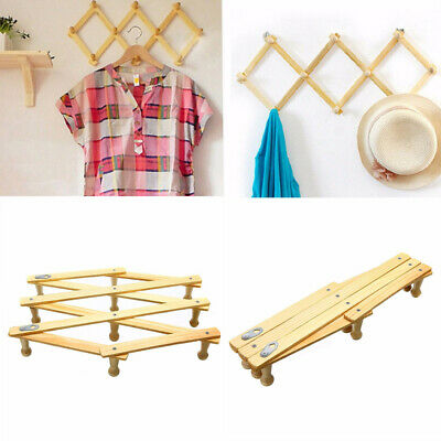 Natural Wood Wall Mounted Expandable Accordion Peg Coat Rack Hanger Hat Closet