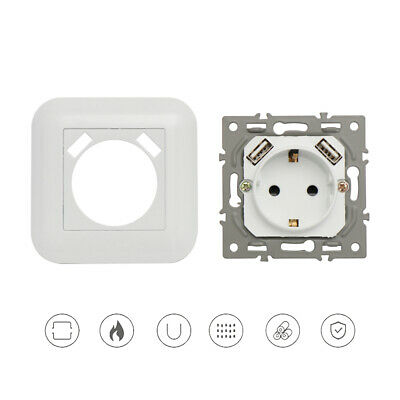 Dual USB Port Switch White Plug Panel Power Outlet EU Socket Wall Charger