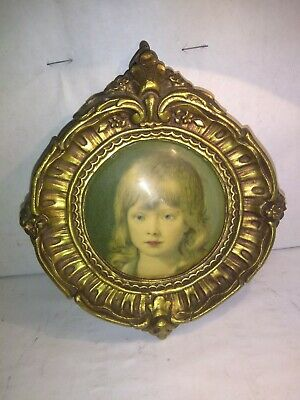 1867s VICTORIAN GOLD GILT ORNATE oval WOOD FRAME Picture Frame 5x6